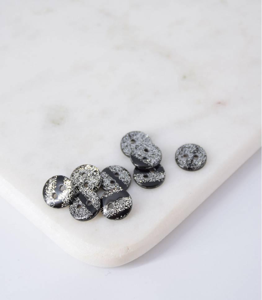 Boutons noirs paillettes argents - 12mm