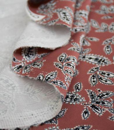 Tissu coton élasthanne Pondicherry - cannelle