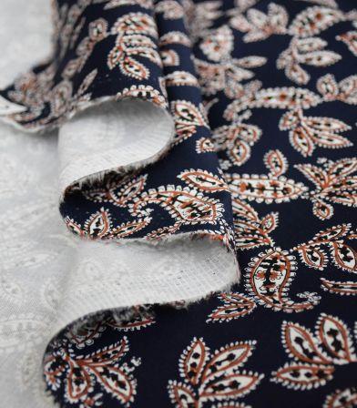 Tissu coton élasthanne Pondicherry - marine