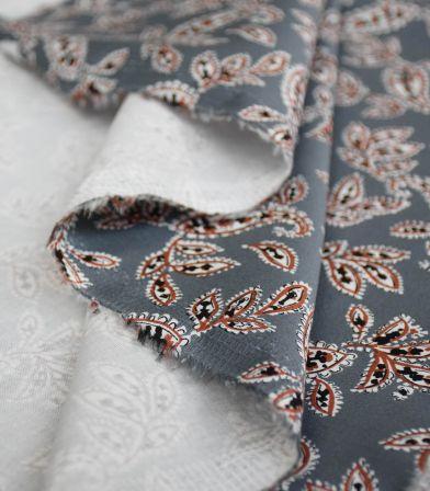 Tissu coton élasthanne Pondicherry - gris