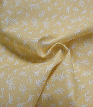 Popeline bio - Leaves - Dusty yellow