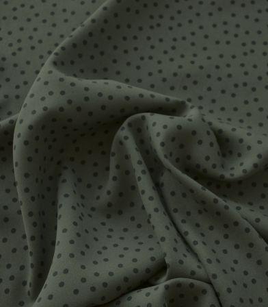 Tissu twill viscose - Small dots army