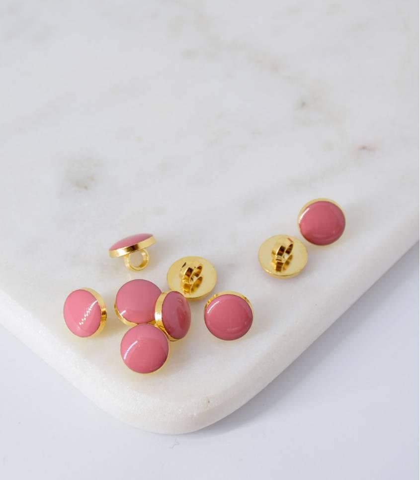 Boutons à queue or/blush- 10mm