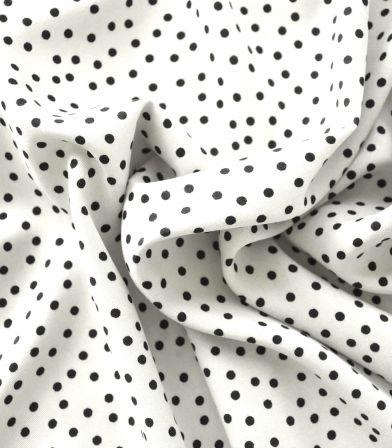 Tissu twill viscose - Small dots ecru
