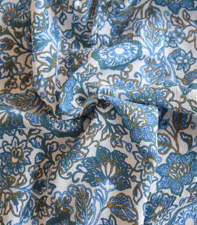 Tissu viscose crinkle Indie folk - Blue