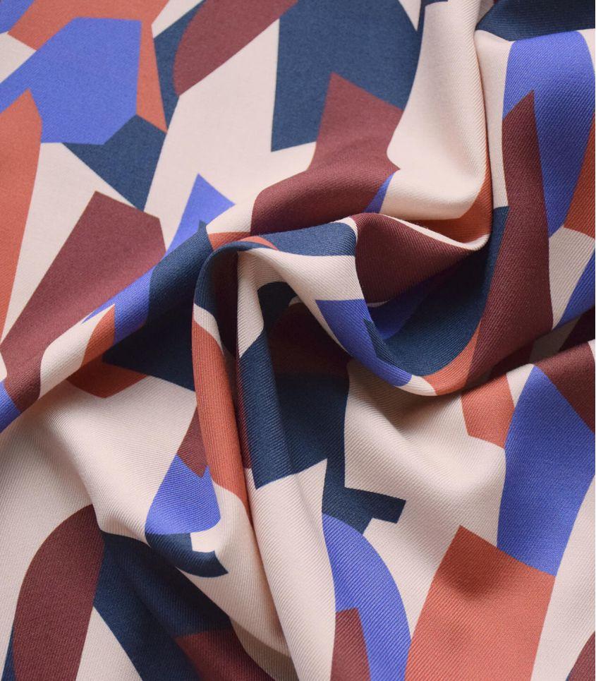 Tissu twill Cubisme - Iris