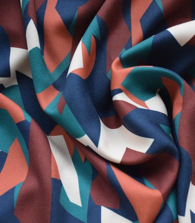 Tissu twill Cubisme - Mélèze