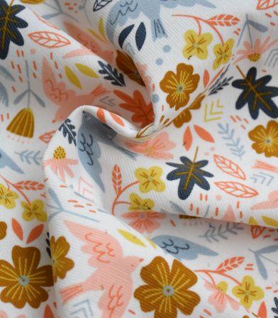 Tissu velours milleraies Birdy - White