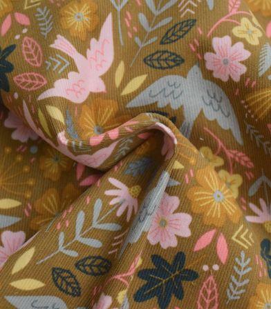 Tissu velours milleraies Birdy - Mustard