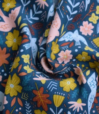 Tissu velours milleraies Birdy - Bleu