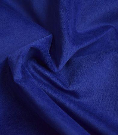 Tissu velours lisse stretch - Bleu