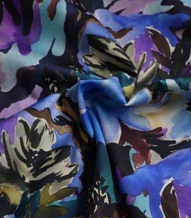Tissu satin de coton - Watercolor flower blue