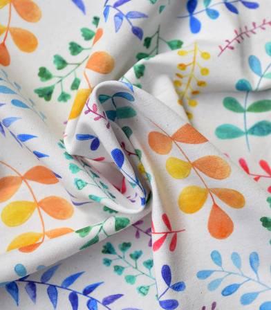 Tissu Jersey feuillages - Aquarelle