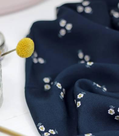Tissu Trio de Fleurs / navy