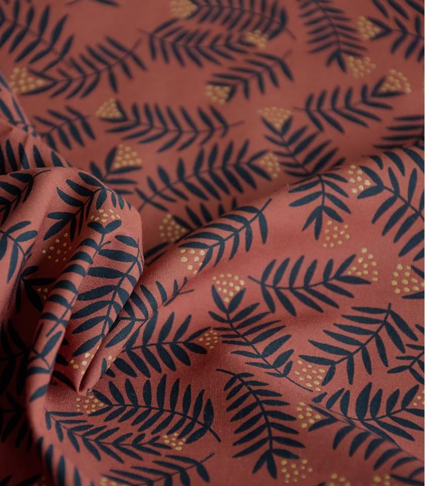 Tissu viscose Rameaux  - ambre