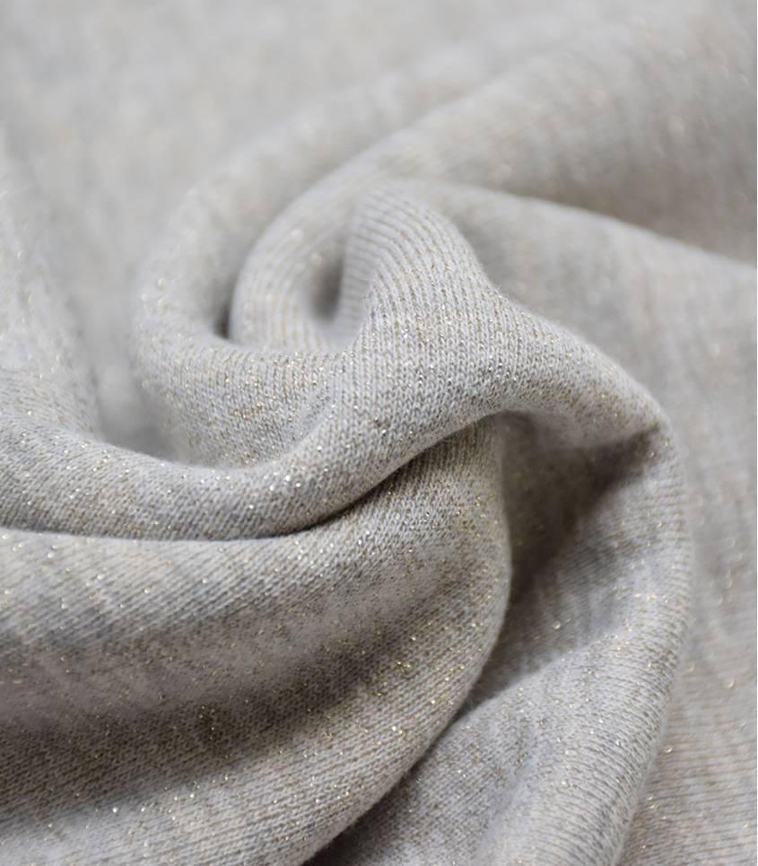 Tissu molleton gris - lurex or