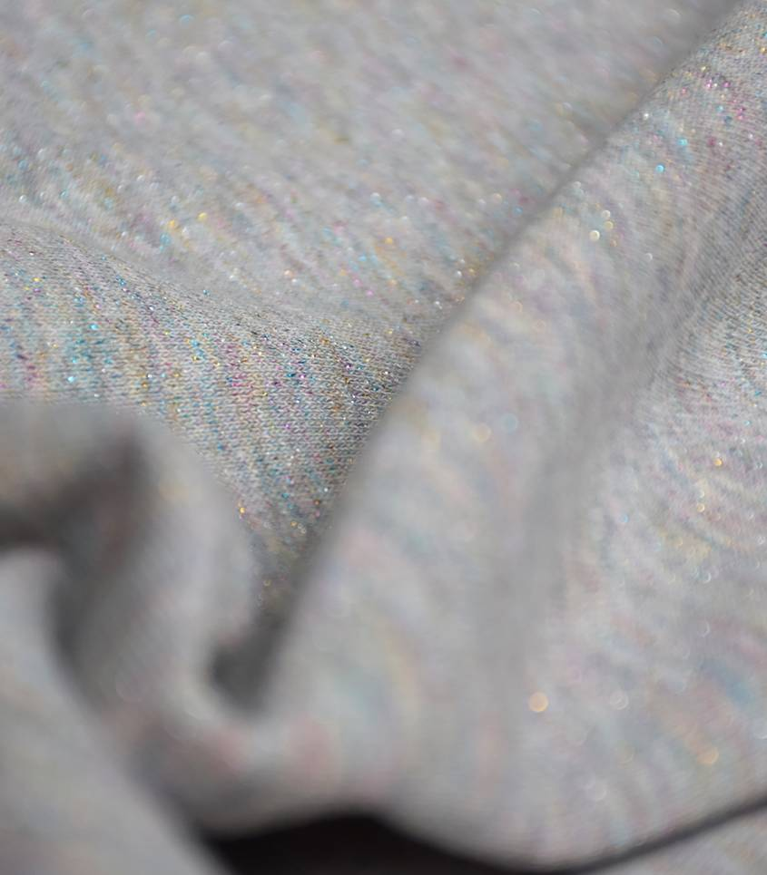 Tissu molleton gris - lurex rainbow