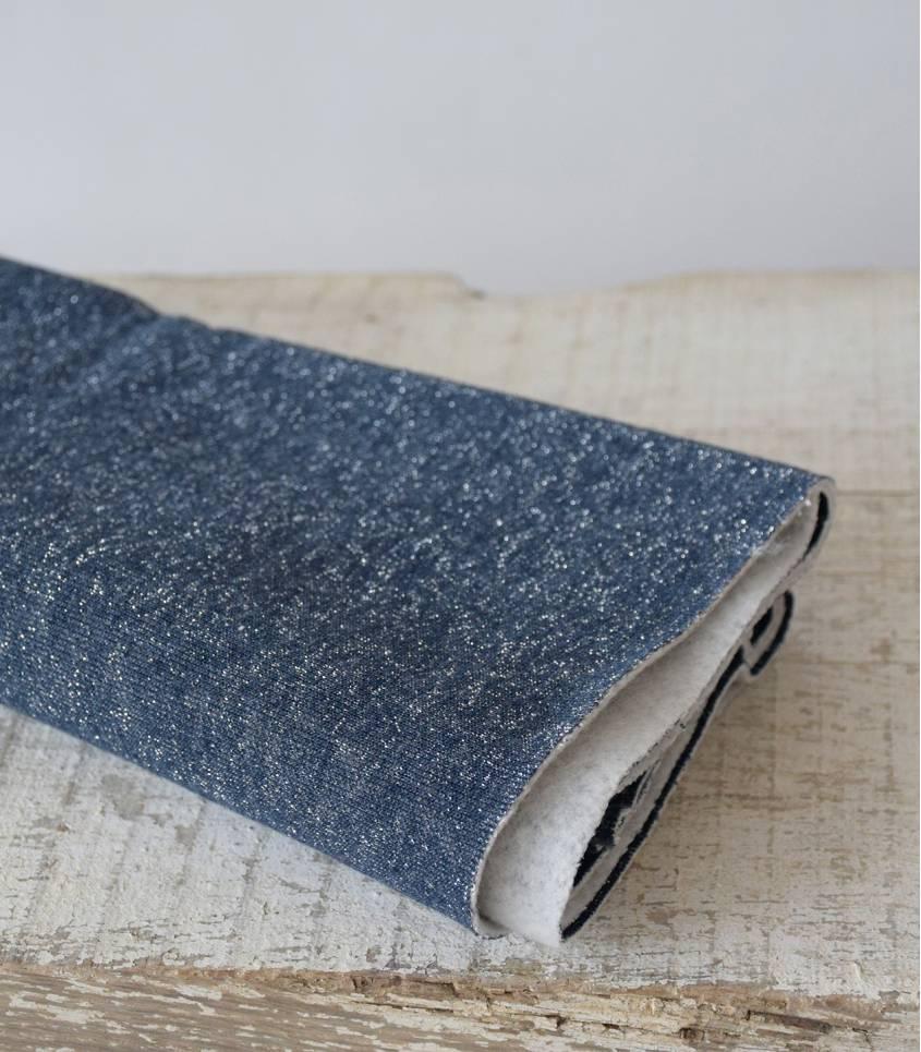 Tissu molleton marine - lurex argent