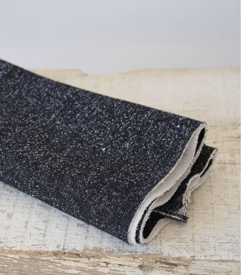 Tissu molleton noir - lurex argent