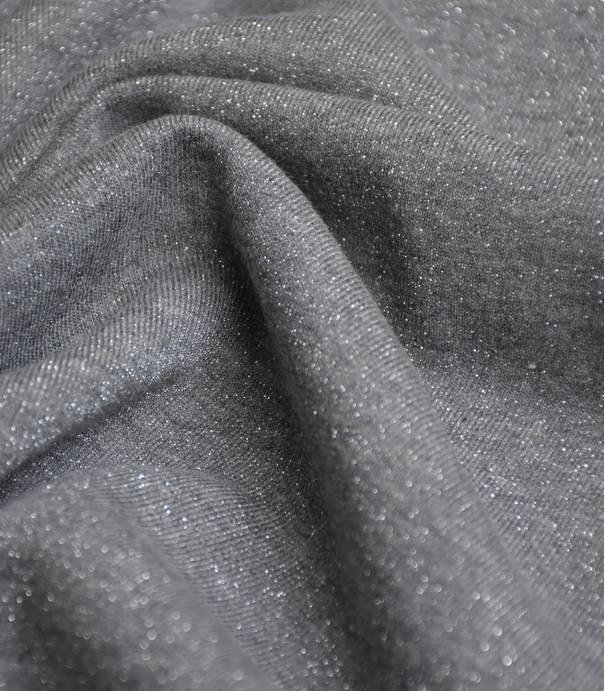 Tissu molleton gris - lurex argent