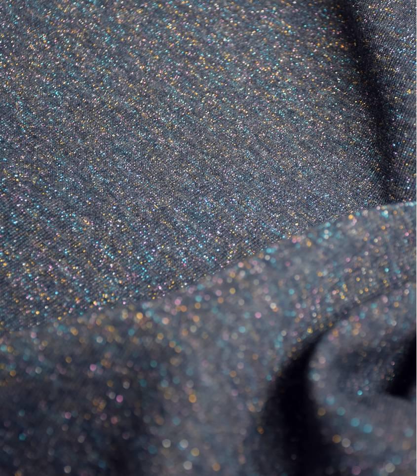 Tissu molleton marine - lurex rainbow