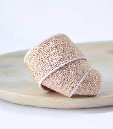 Elastique ceinture lurex Rose/cuivré - 25mm