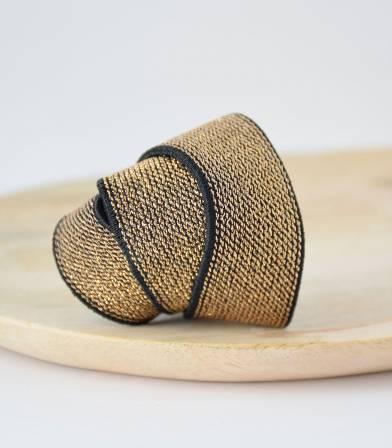 Elastique ceinture lurex Noir/or - 25mm