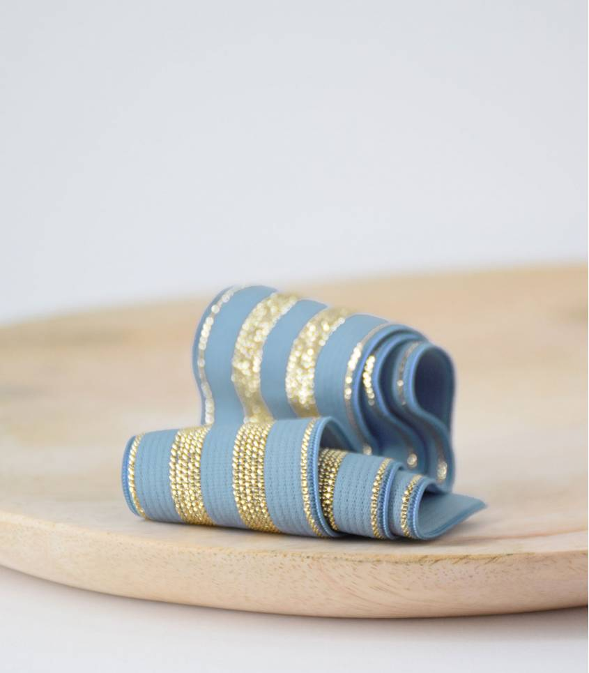 Elastique Rayures Bleu/or 30mm