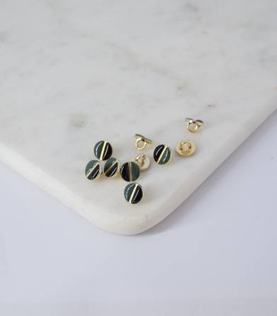 Boutons à queue bicolore Noir/Vert Lichen - 9mm