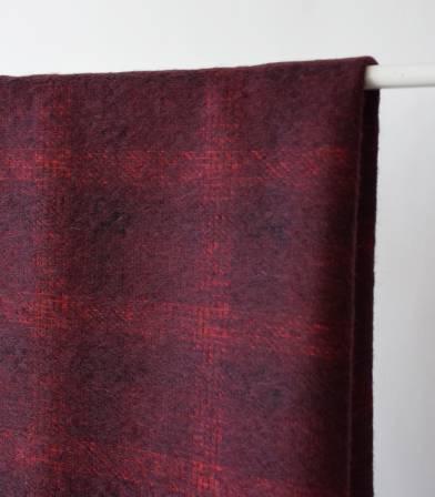 Tissu lainage poilu écossais - Bordeaux