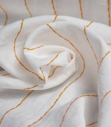 Tissu viscose rayures irrégulières - Jaune