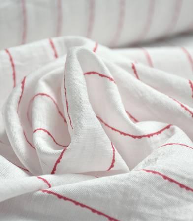 Tissu viscose rayures irrégulières - Rose