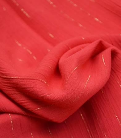 Tissu viscose crinkle rayure OR - rouge