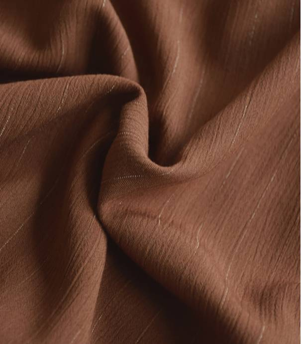 Tissu viscose crinkle rayure OR - tabac