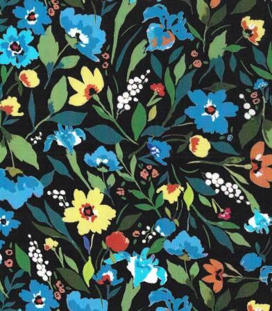 Tissu viscose Bleuets