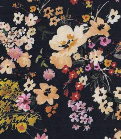 Tissu viscose Fleurs champêtres