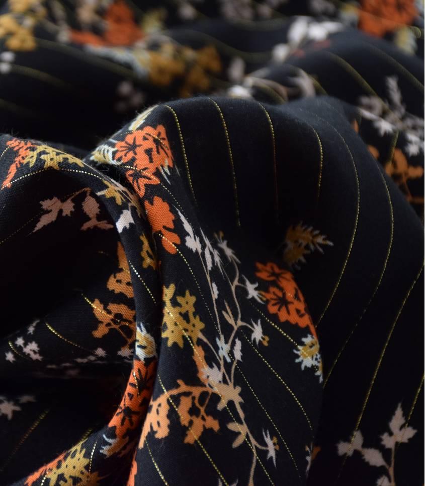 Tissu viscose Shangaï diva  - Noir