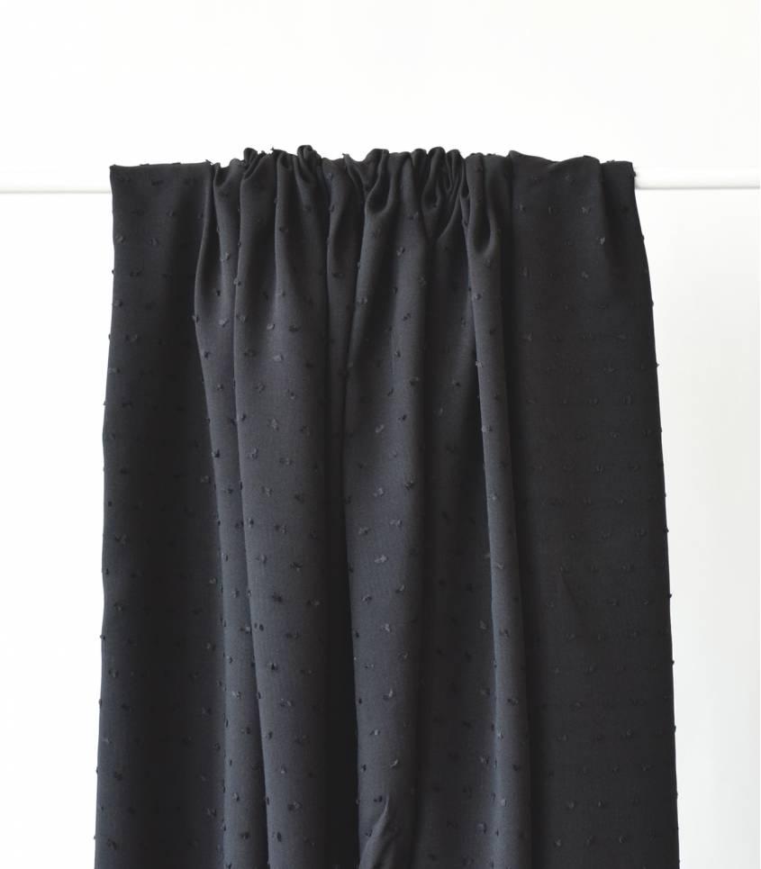 Tissu viscose Plumetis- Noir