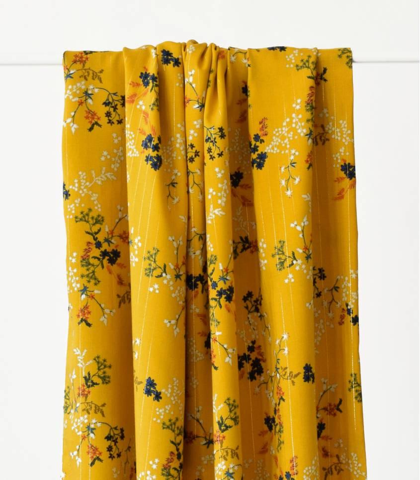 Tissu viscose Shangaï diva  - Jaune moutarde