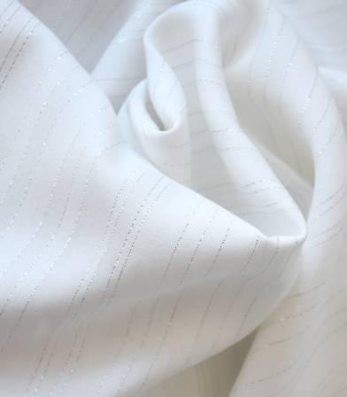 Tissu viscose Rayures argent - Neige