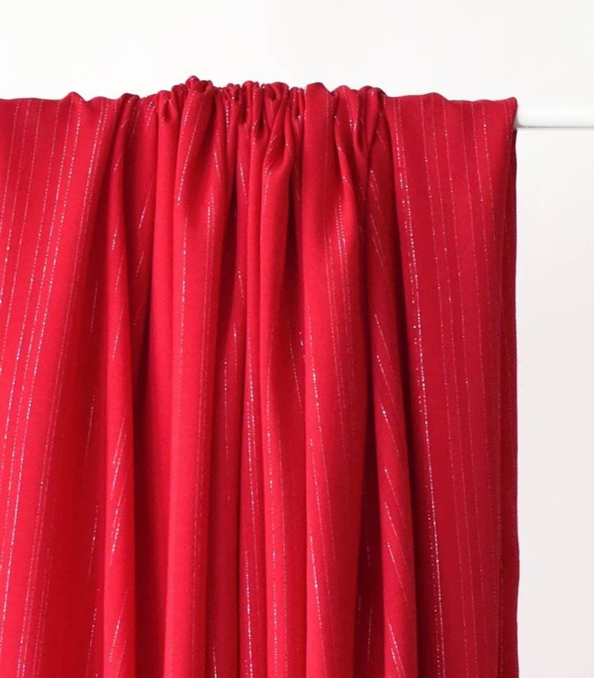 Tissu viscose Rayures argent - Rouge
