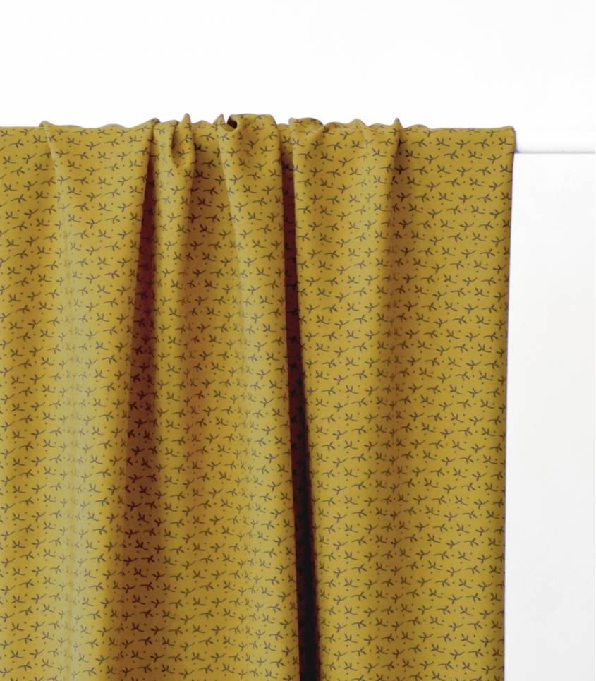 Tissu viscose Brindilles - Jaune moutarde
