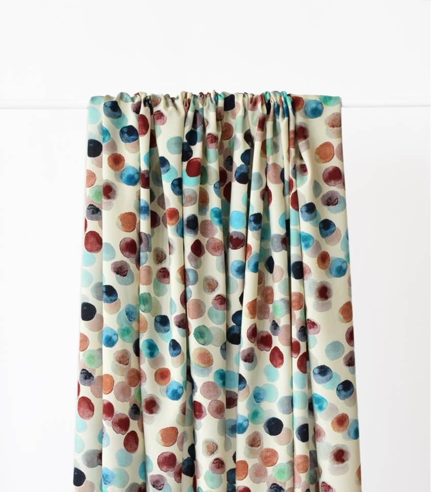 Tissu viscose spots - Turquoise / moka