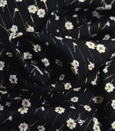 Tissu viscose Fleurettes fil lurex - Noir