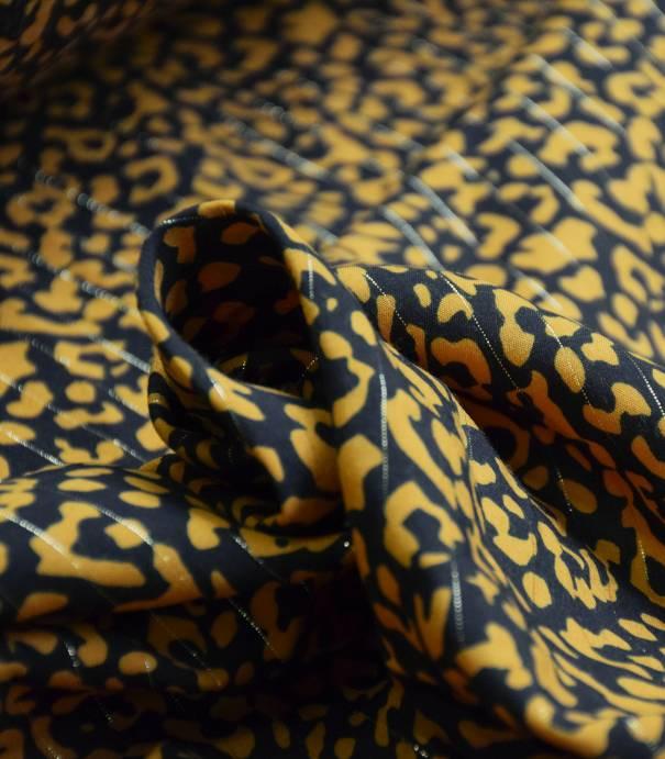 Tissu viscose Léopard fil lurex  - Jaune moutarde