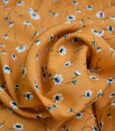 Tissu viscose Fleurettes fil lurex - Ocre jaune