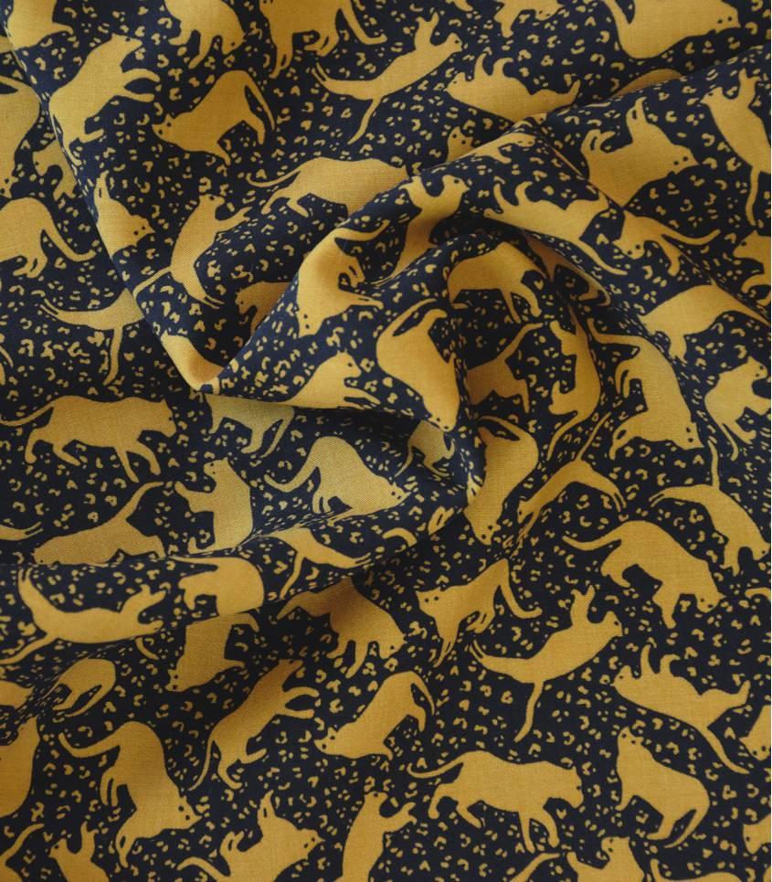 Tissu viscose Panthère - Noir / Jaune moutarde