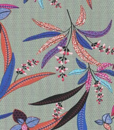 Tissu viscose Fleurs des îles - Vert jade
