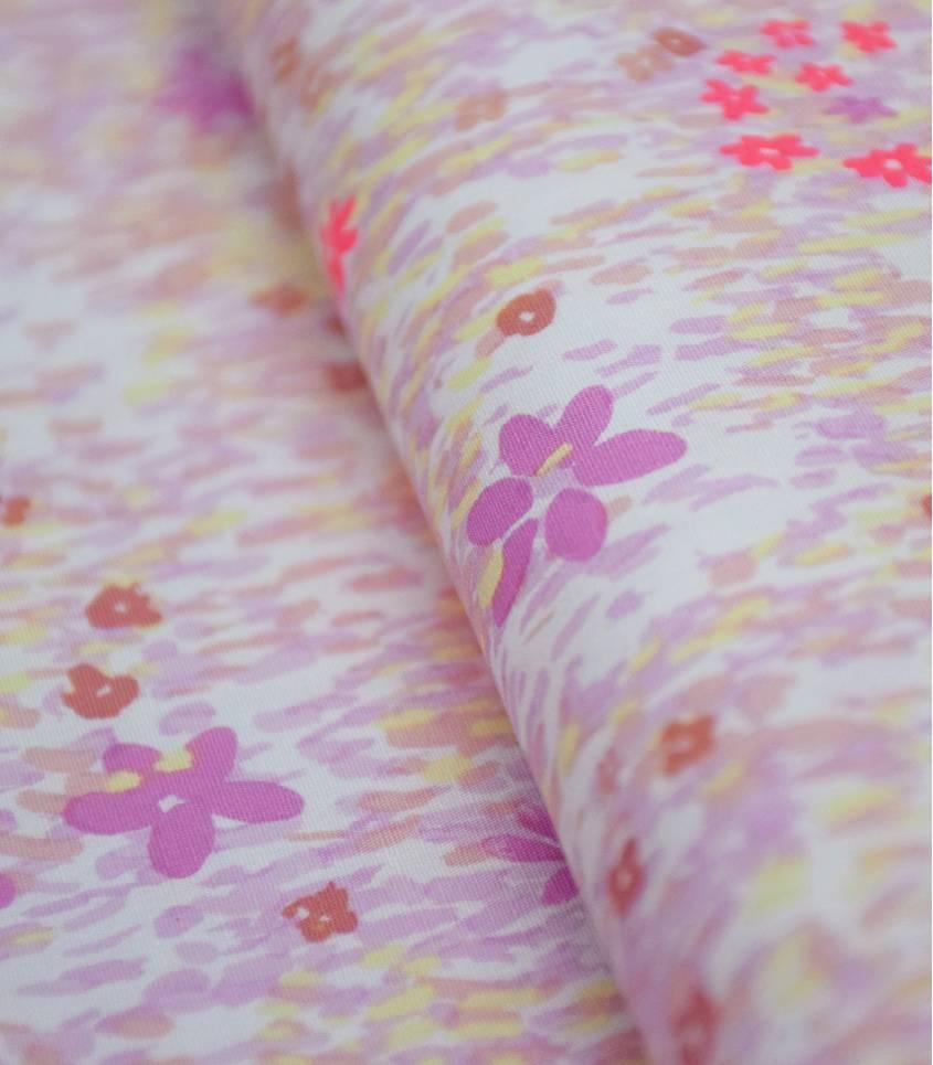 Tissu Rico - Champs de fleurs - Rose fluo