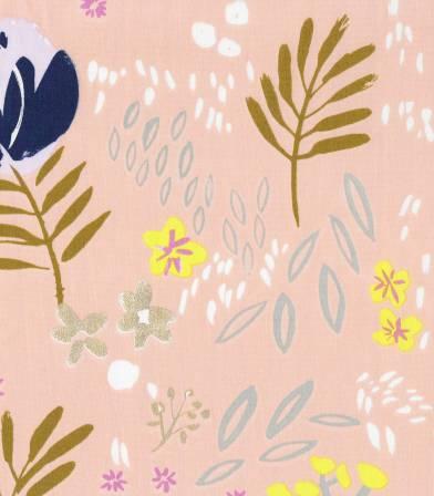 Tissu Rico design - Fleurs métallisées - Pêche